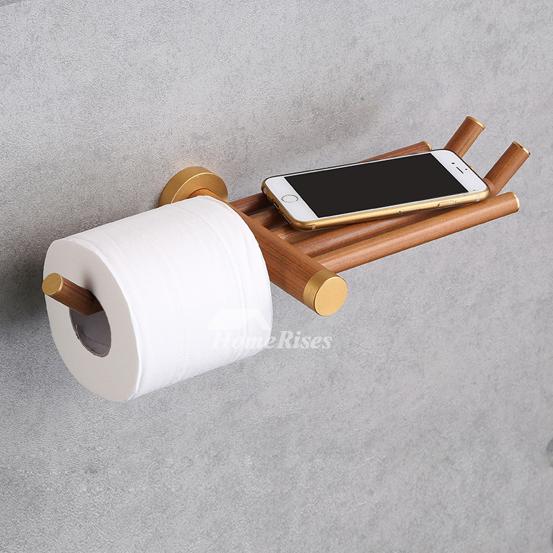 Simple Unusual Exquisite Wooden Toilet Paper Holder With Shelf