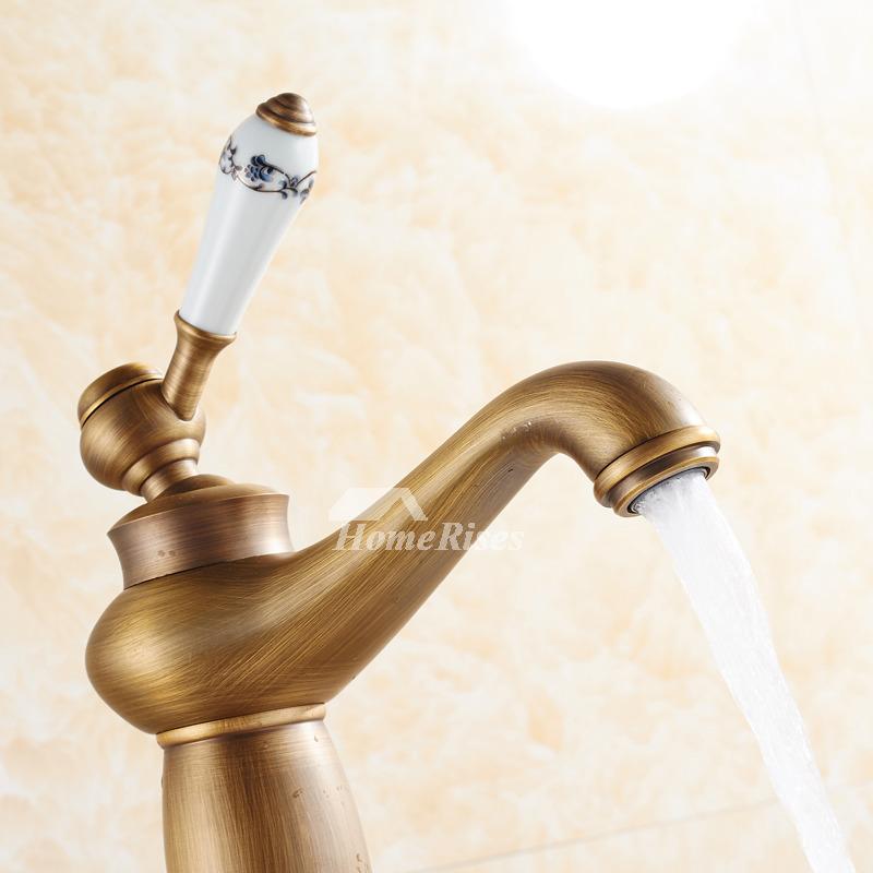 Vintage Brushed Brass Antique Gold Bathroom Faucets Single