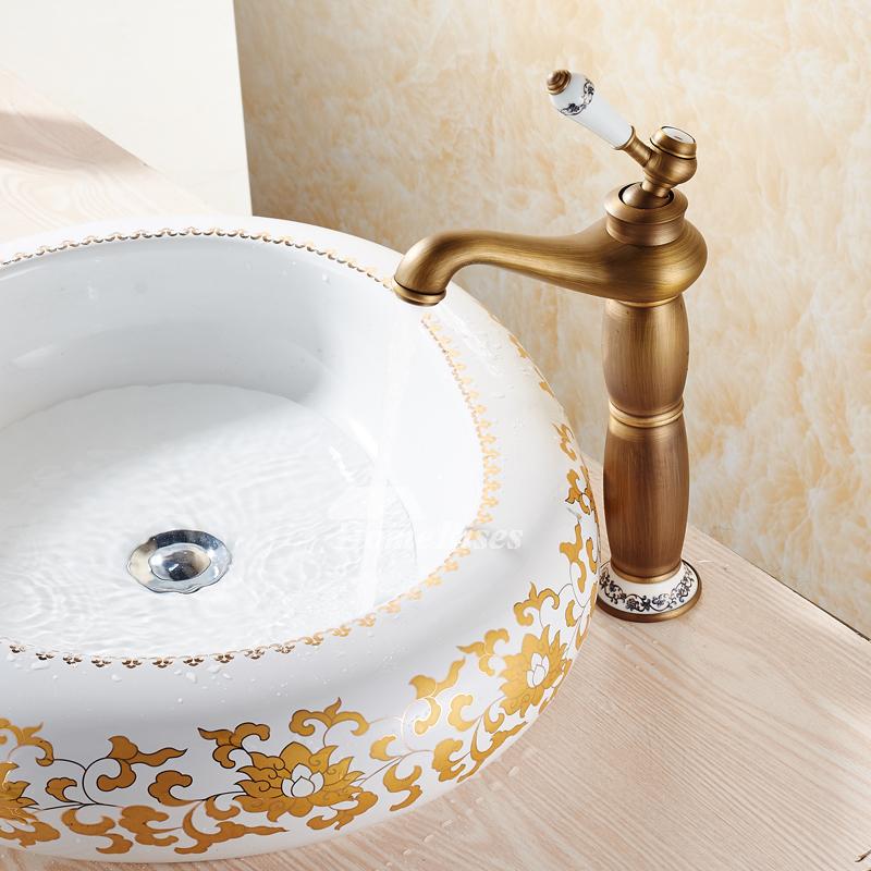 Antique Brass Bathroom Faucet Brushed Single Handle Vanity