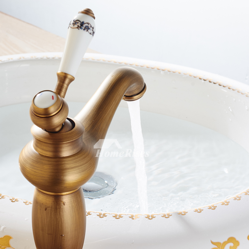 Antique Brass Bathroom Faucet Brushed Single Handle Vanity