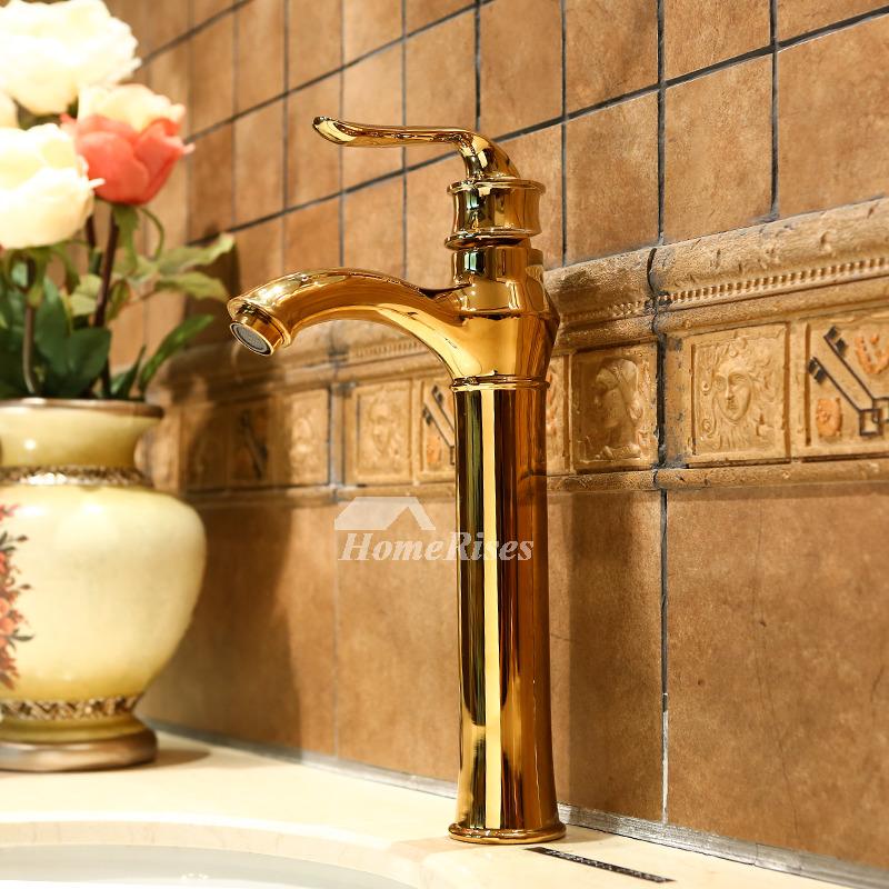 Gold Bathroom Faucet Vessel Polished Brass Single Handle