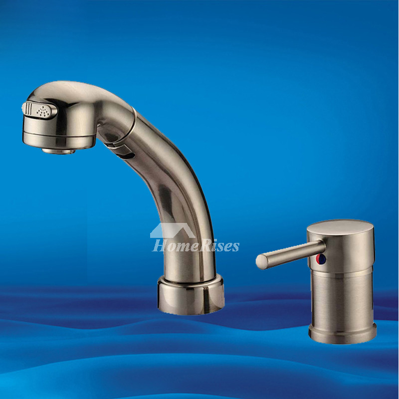 Hole Bathroom Faucet Brushed Stainless Steel Single Handle Widespread - Brushed stainless steel bathroom faucet