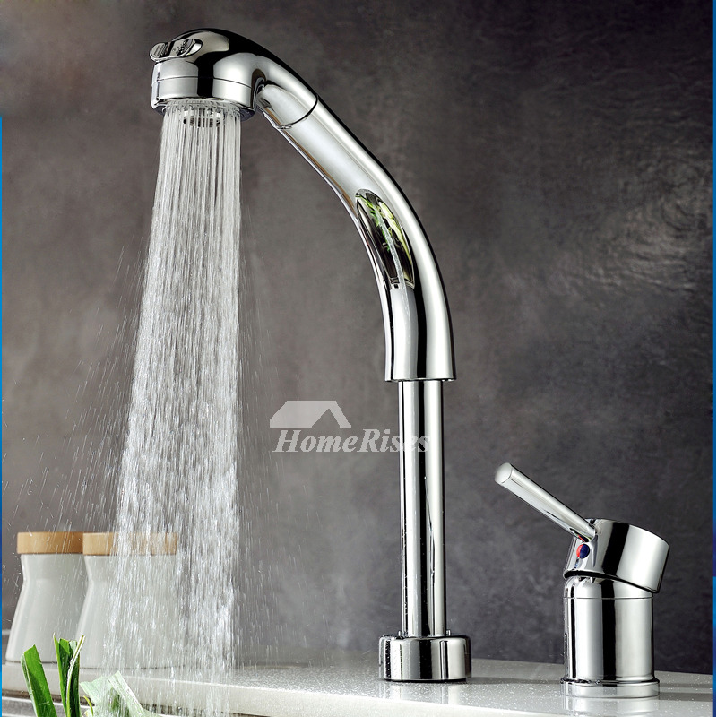 Widespread Bathroom Faucet Brass Chrome Single Handle Pull Out Spray