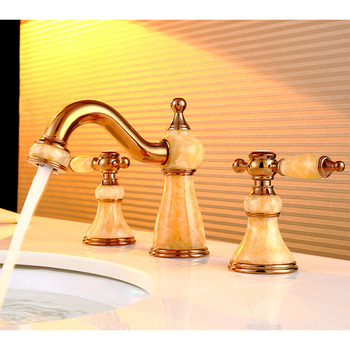 3 Hole Bathroom Faucet Two Handles Polished Brass Widespread Vanity