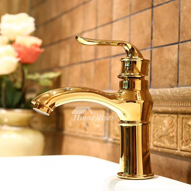 Discount bathroom faucets polished brass gold single handle luxury for Polished gold bathroom faucets