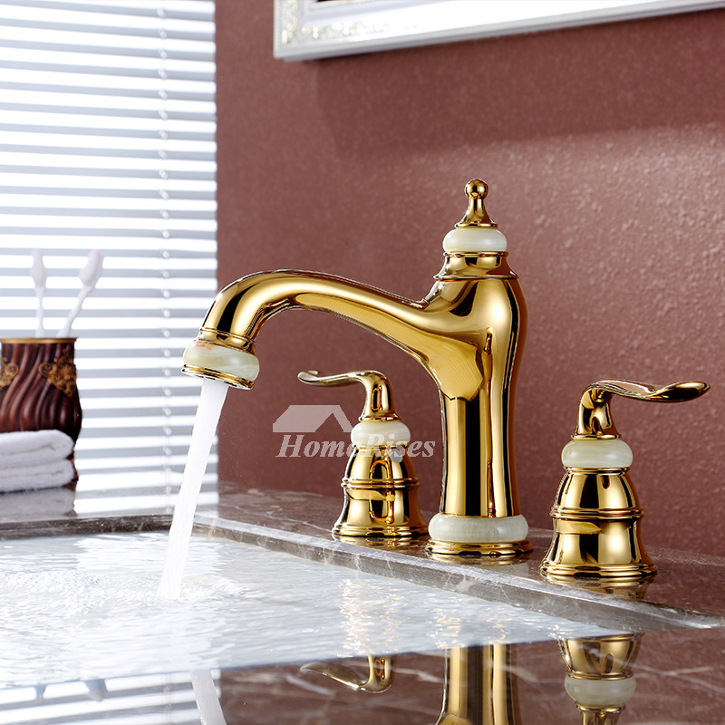Brass Bathroom Sink Faucet polished widespread gold 3 hole two