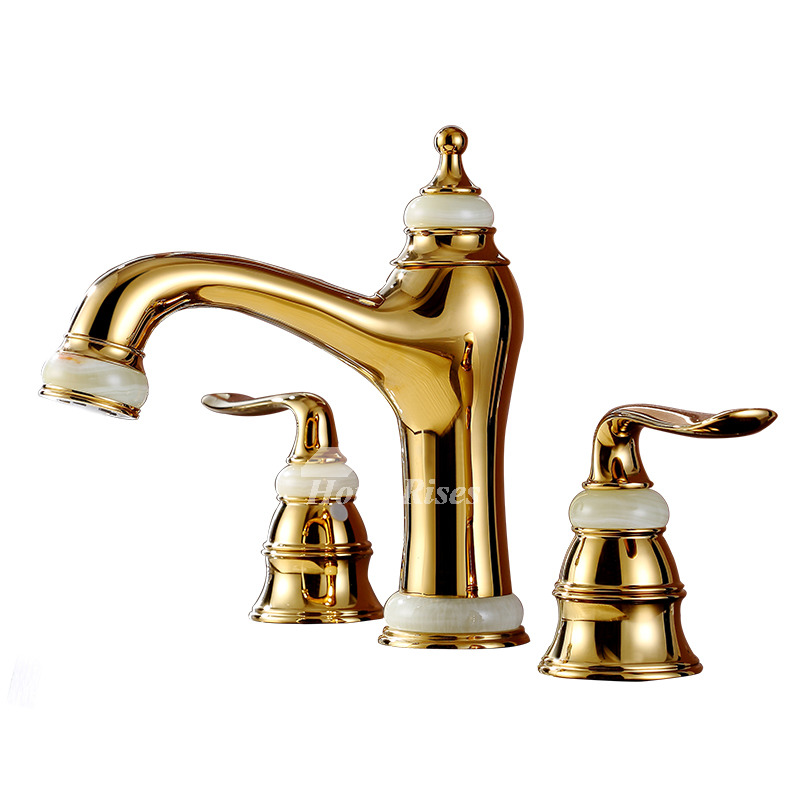Brass bathroom sink faucet polished widespread gold 3 hole - Brass bathroom faucets widespread ...