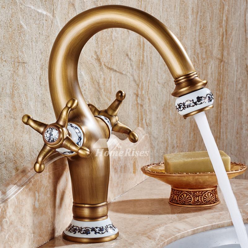Antique Bathroom Faucets Two Cross Handle Centerset Gooseneck Gold