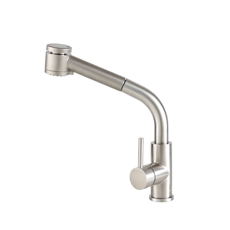 Brushed Nickel Kitchen Faucet Pull Out Spray Single Handle Stainless Steel