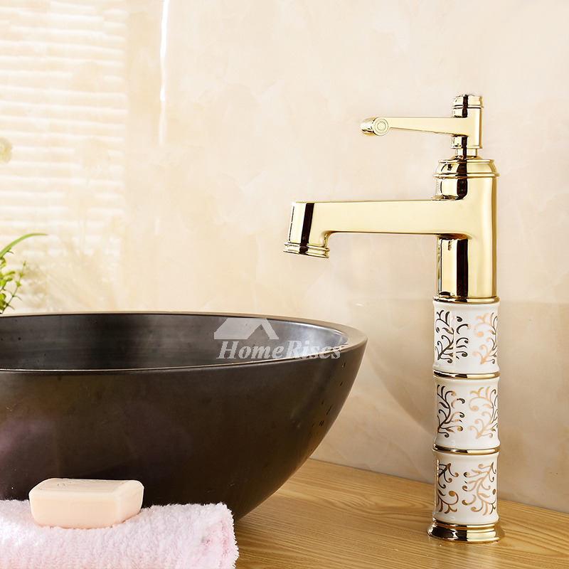Polished brass bathroom faucet single handle ceramic gold vessel for Polished gold bathroom faucets