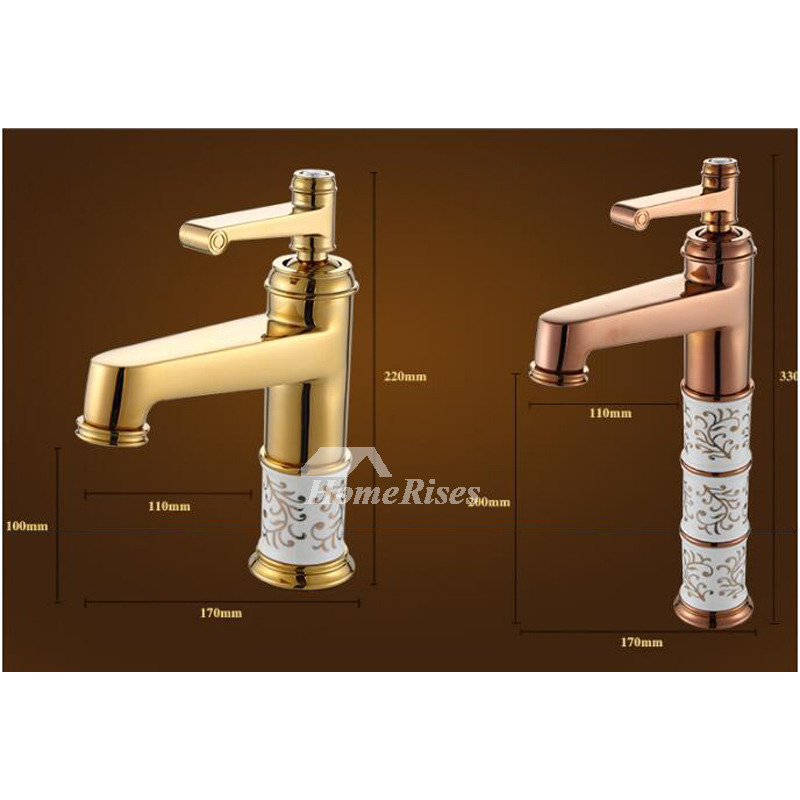 Brown Bathroom Faucets Rose Gold Brass Ceramic Single