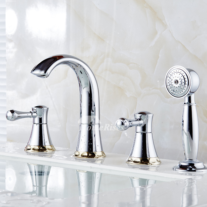 Bathtub Faucet With Sprayer Widespread Deck 4 Hole Brass ...