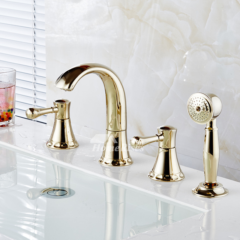 Bathtub Faucet With Sprayer Widespread Deck 4 Hole Brass