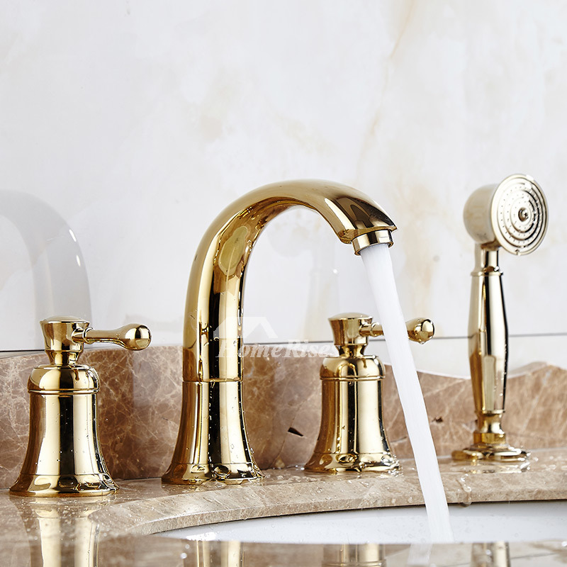 Bathtub faucet hand shower spray polished brass gold 2 handle luxury for Polished gold bathroom faucets