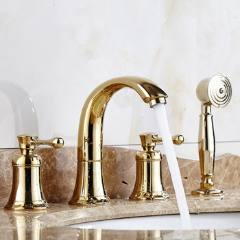 Gold 2 Handle Bathtub Faucet