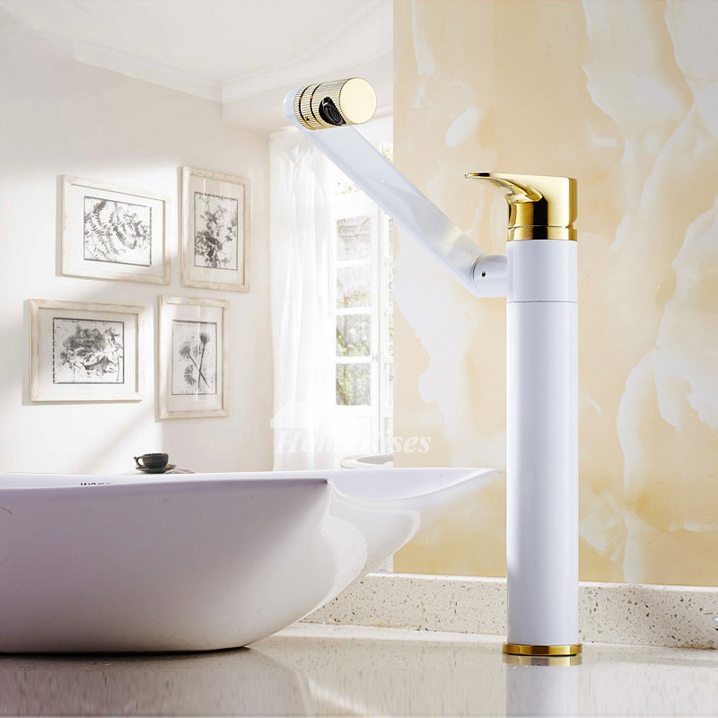 White Bathroom Faucets Painting Rotatable Modern Designer
