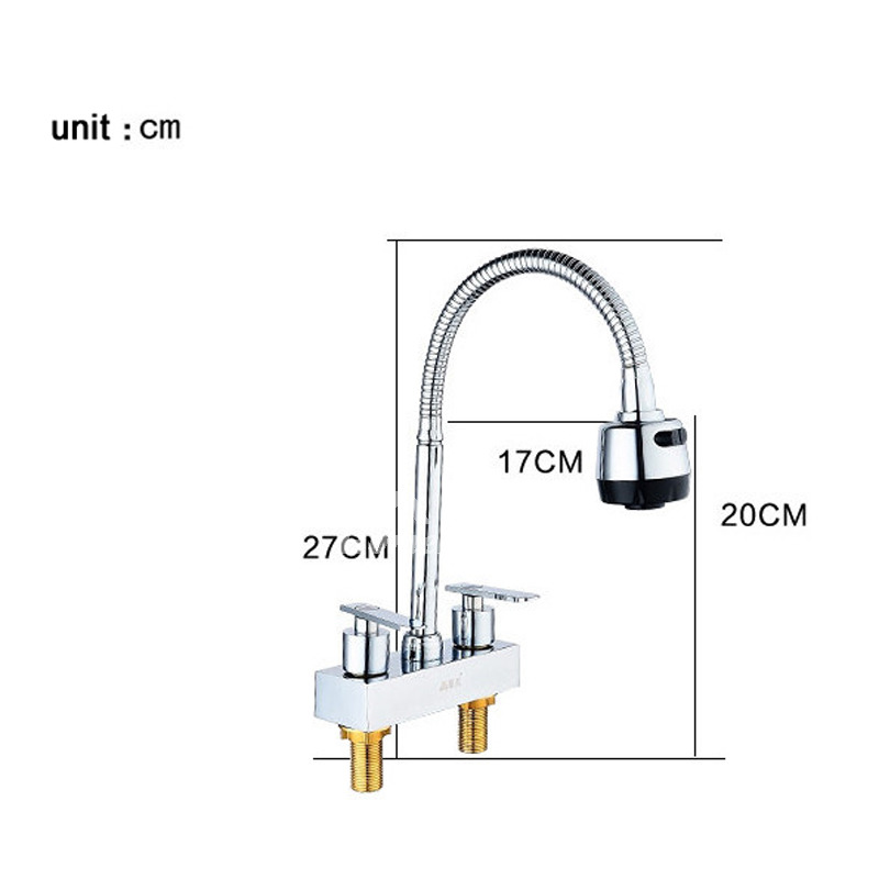 Gooseneck Kitchen Faucet Centerset Silver 2 Hole Chrome Brass Best