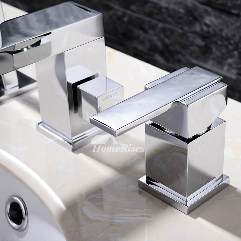 Deck Mount Tub Faucet 3 Hole Brass Chrome Hand Shower Spray