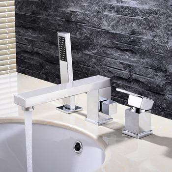 Bathtub Faucet With Sprayer Widespread Deck 4 Hole Brass