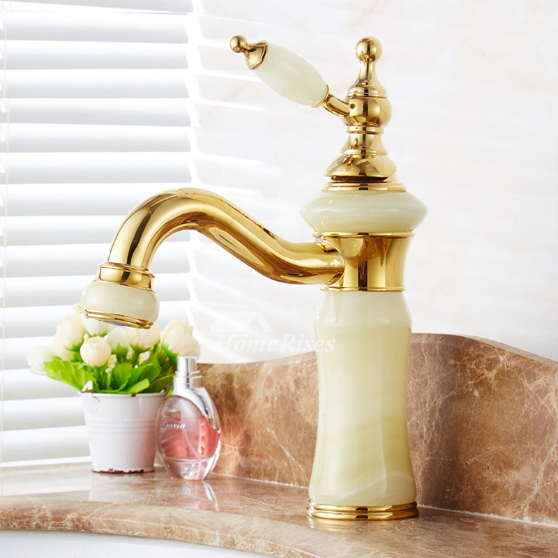 Unique Bathroom Faucets Polished Brass Marble Single