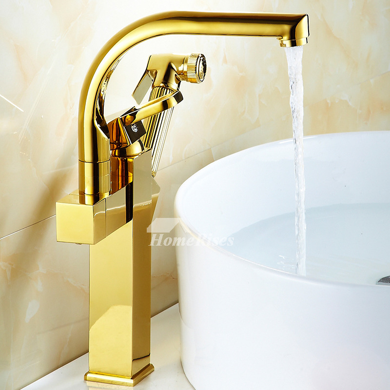 Gold Kitchen Faucet Polished Brass Vessel Pull Out Spray Single Hole