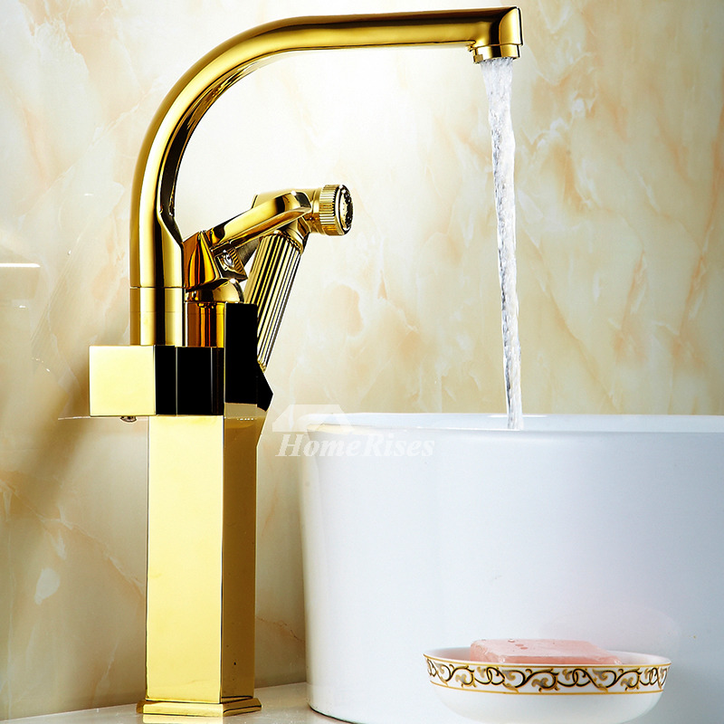 Gold Kitchen Faucet Polished Brass Vessel Pull Out Spray