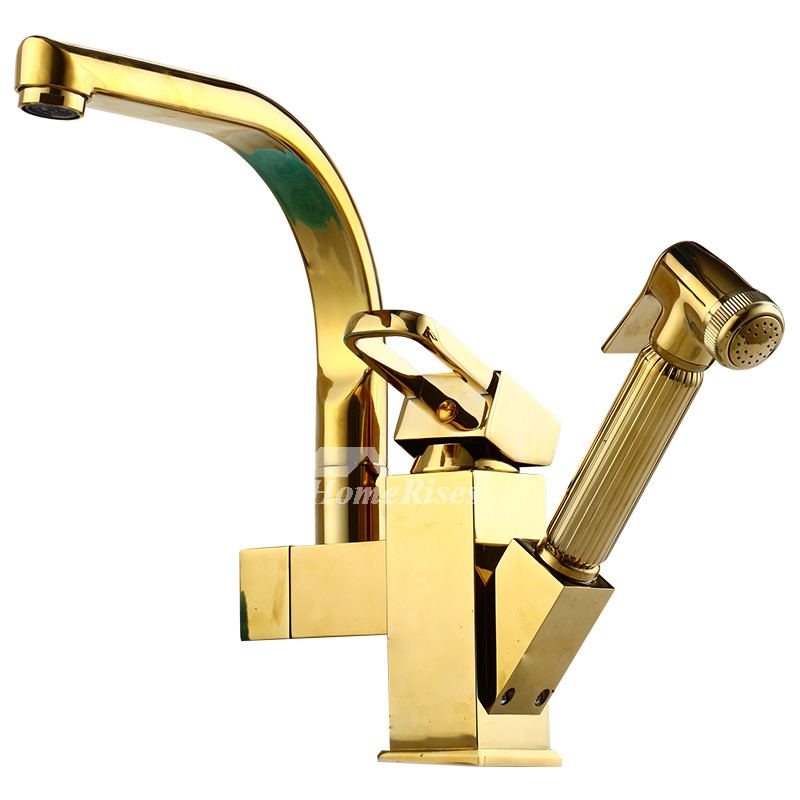 Expensive Kitchen Faucets: Luxury Kitchen Faucets Pull Out Spray Polished Brass