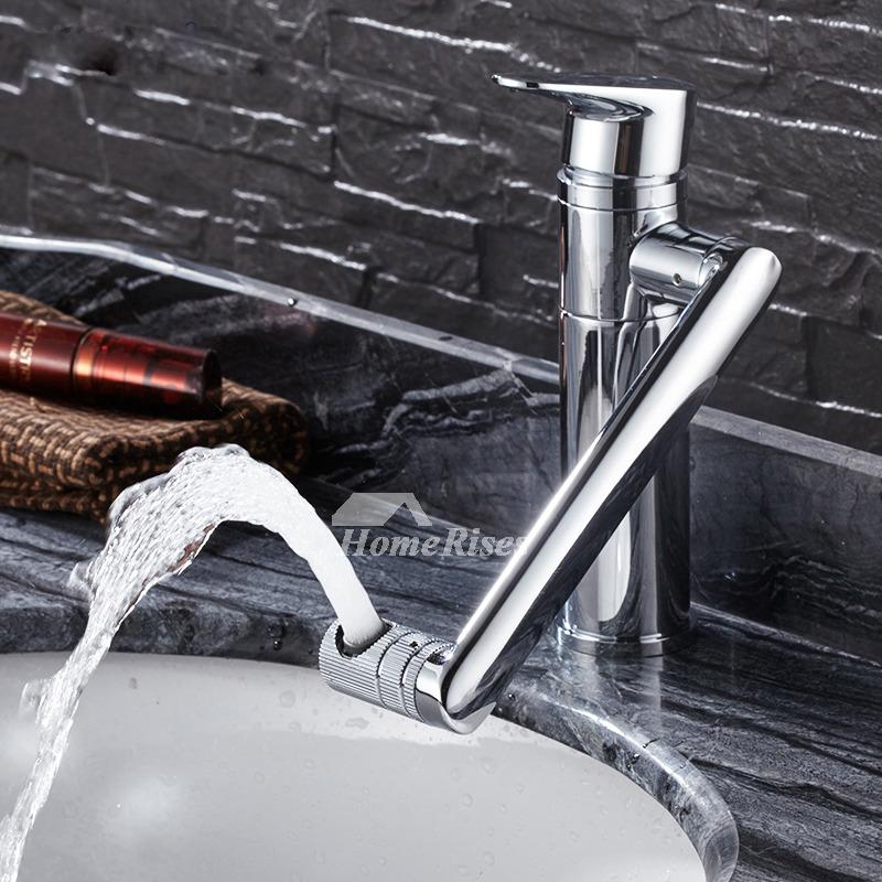 8 Inch Bathroom Faucet Centerset Rotatable Brass Single Hole Silver