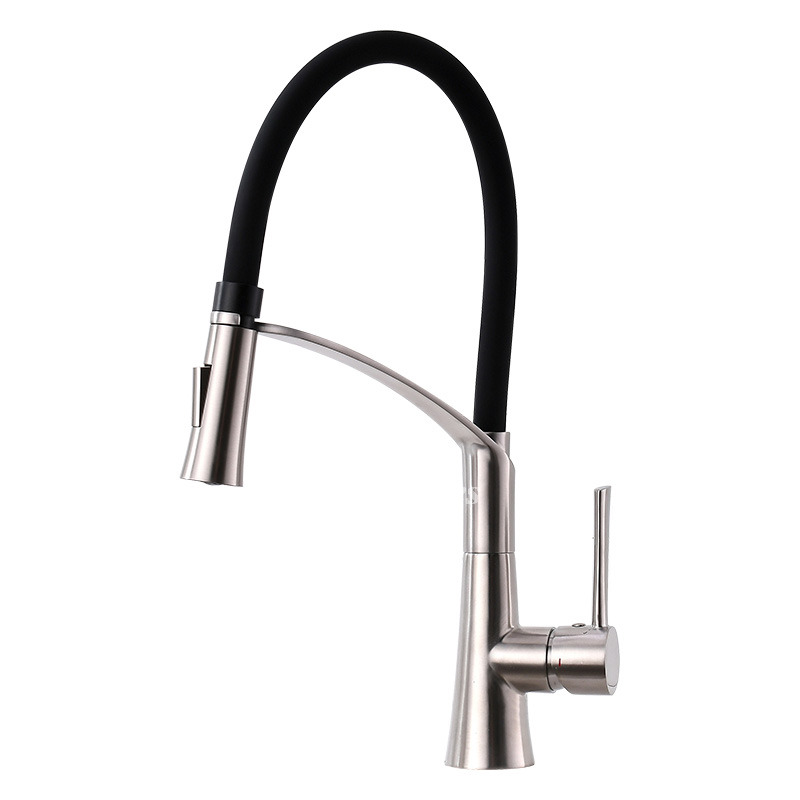 Matte Black Kitchen Faucets Rotatable Gooseneck Vessel Stainless Steel