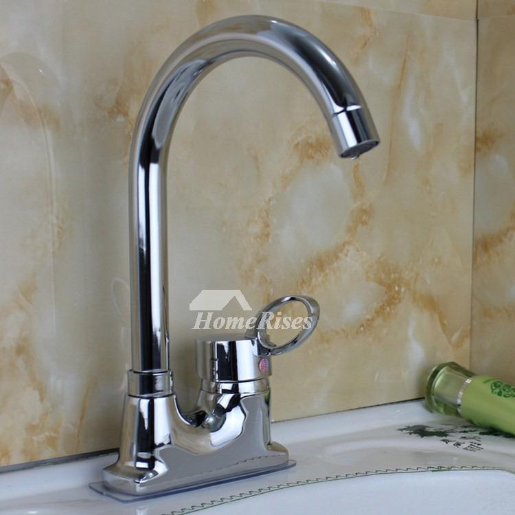2 Hole Kitchen Faucet Centerset Gooseneck Silver Single Handle Chrome