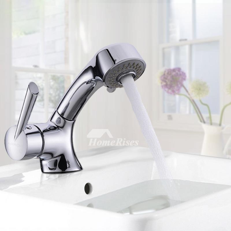 Chrome Bathroom Faucet Pull Out Spray
