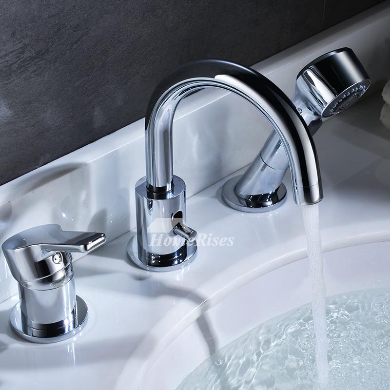 Brass Bath Faucet Sidespray Chrome Gooseneck Modern 3 Hole Modern