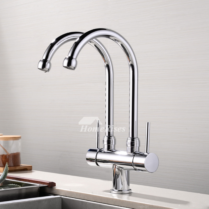 2 Handle Kitchen Faucet Chrome Brushed Stainless Steel Centerset