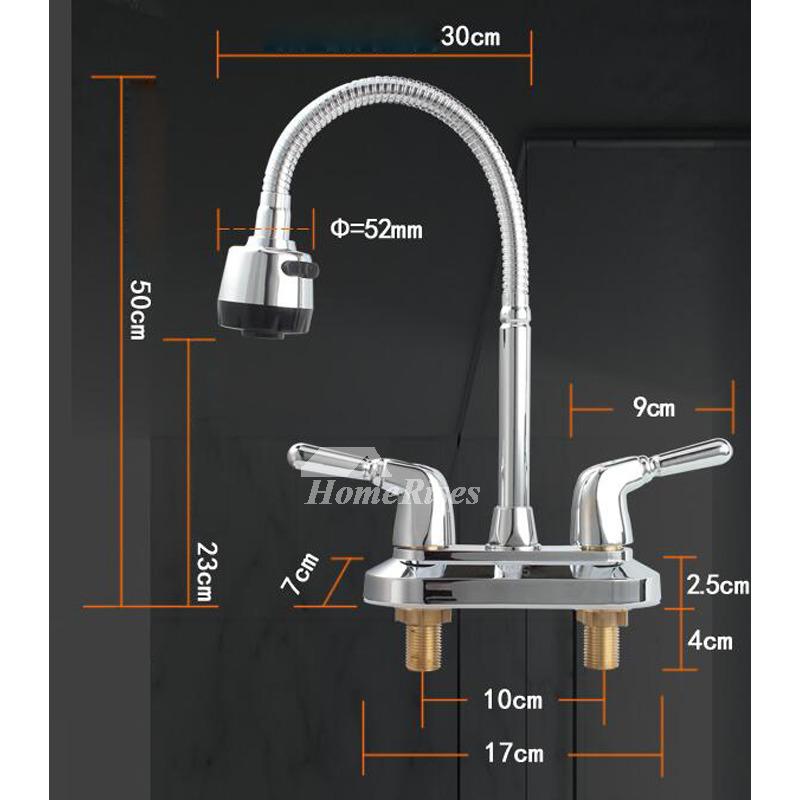 Best Kitchen Faucets Centerset Silver Chrome 2 Handle Gooseneck