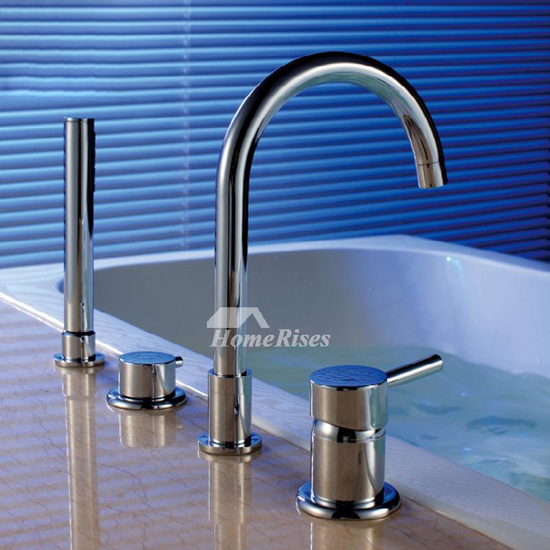 Deck Mount Tub Faucet Gooseneck Silver Chrome Single Handle 4
