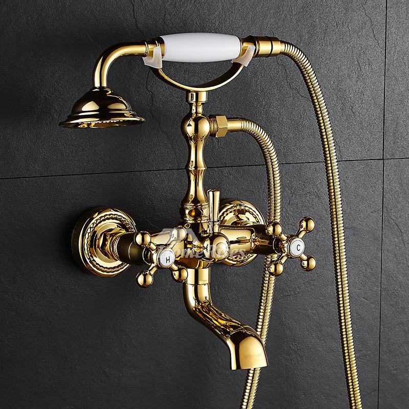 Clawfoot Tub Faucet Telephone Wall Mount Bathroom Cross Handle Gold