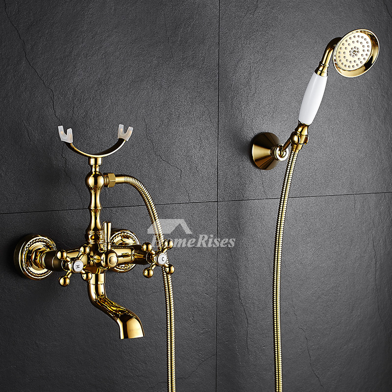 Clawfoot Tub Faucet Telephone Wall Mount Bathroom Cross Handle