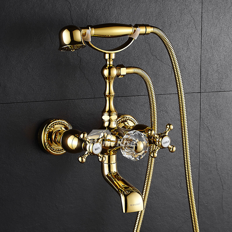 Tub Shower Faucet Clawfoot Wall Mount Gold Polished Brass