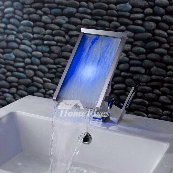 Creative Waterfall Bathroom Sink Faucet Led Brass Chrome