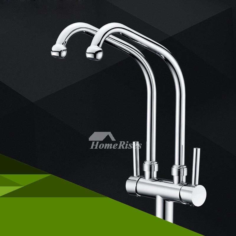 Gooseneck Kitchen Faucet 2 Handle High Arc Silver Chrome Centerset