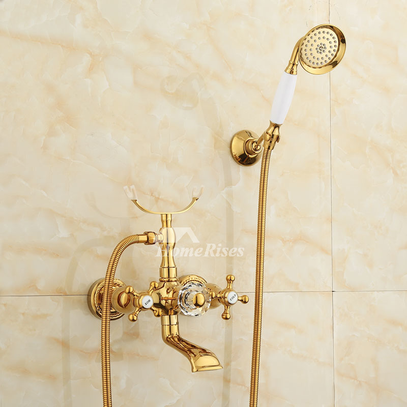 Bathtub Faucet Set Gold Polished Brass Gold Wall Mount Cross Handle