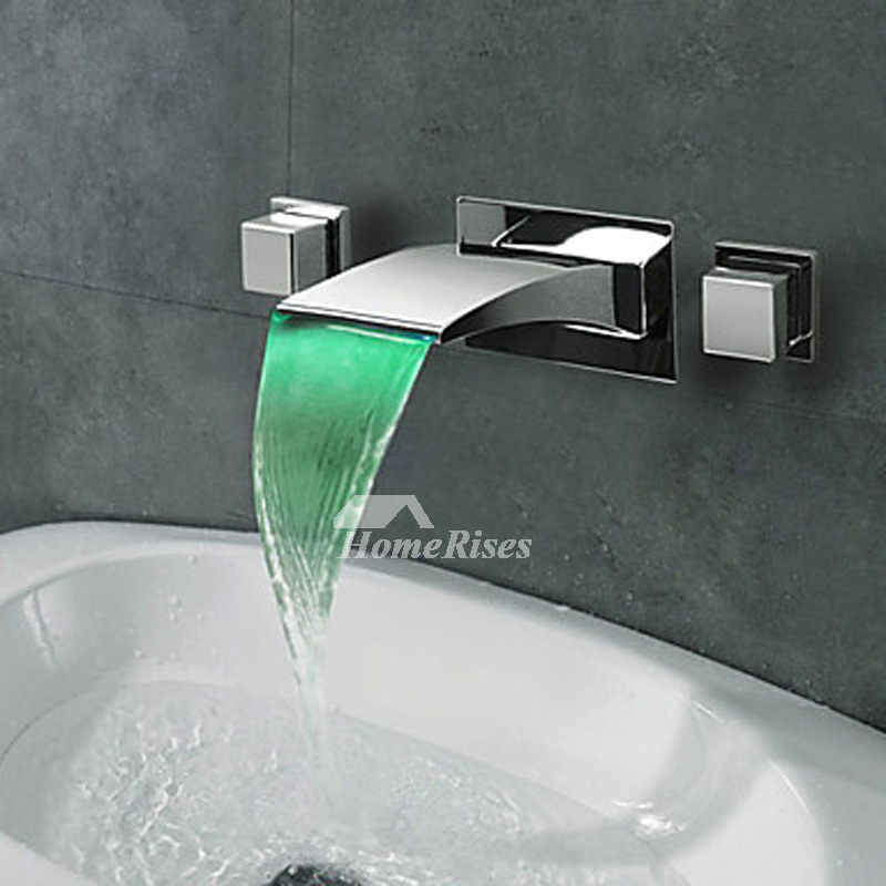 Chrome Door Knobs >> Silver Oil Rubbed Bronze Waterfall Bathroom Faucet 3 Hole Chrome Led