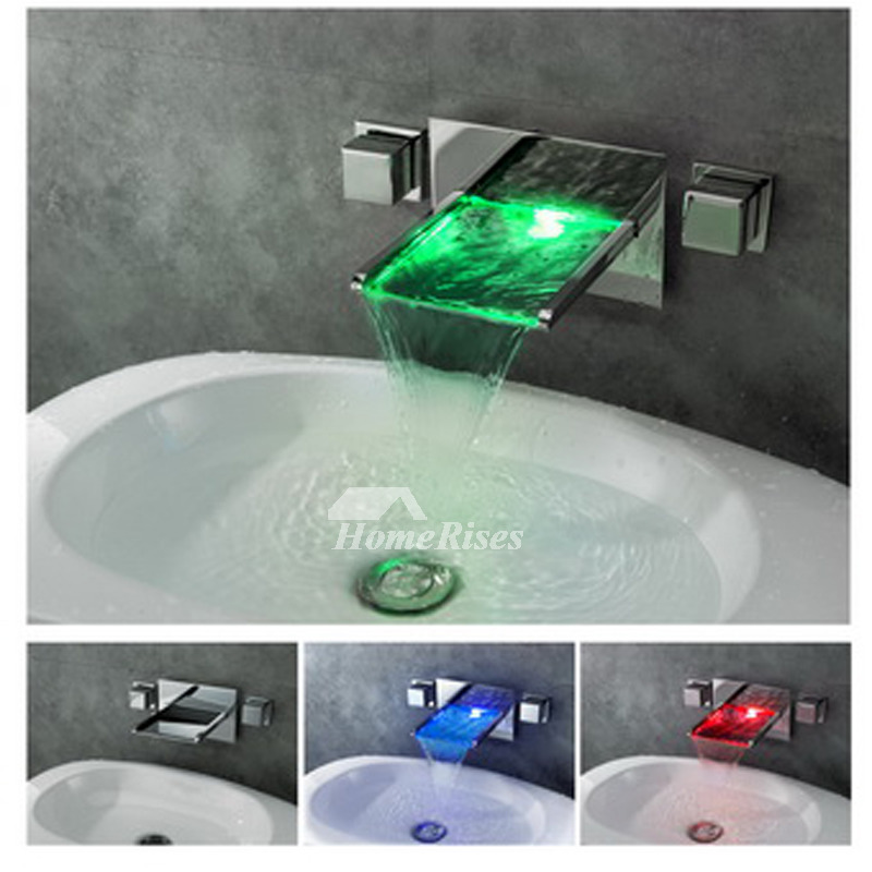 Silver Oil Rubbed Bronze Waterfall Bathroom Faucet 3 Hole Chrome Led