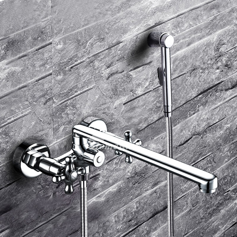Tub And Shower Faucets Silver Brass Wall Mount 2 Handle Chrome Best