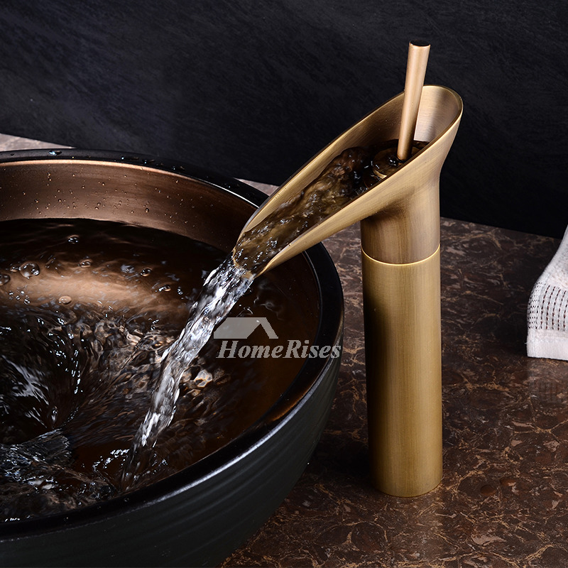 Gold Bathroom Sink Faucets Brushed Antique Brass Gold Waterfall