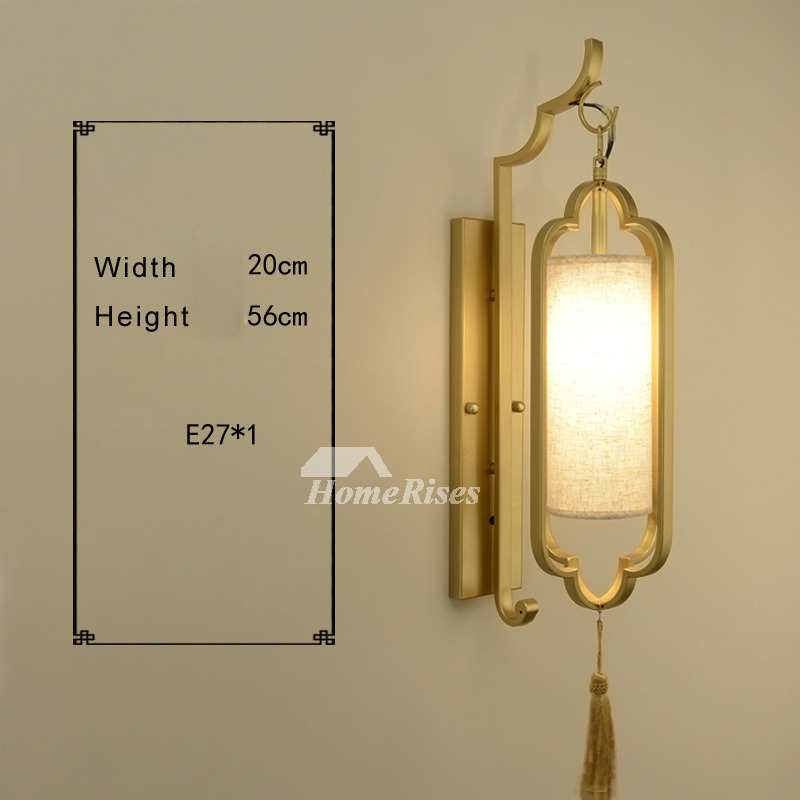 Designer Gold Wall Sconces Wrought Iron Fabric Lantern Black Asian