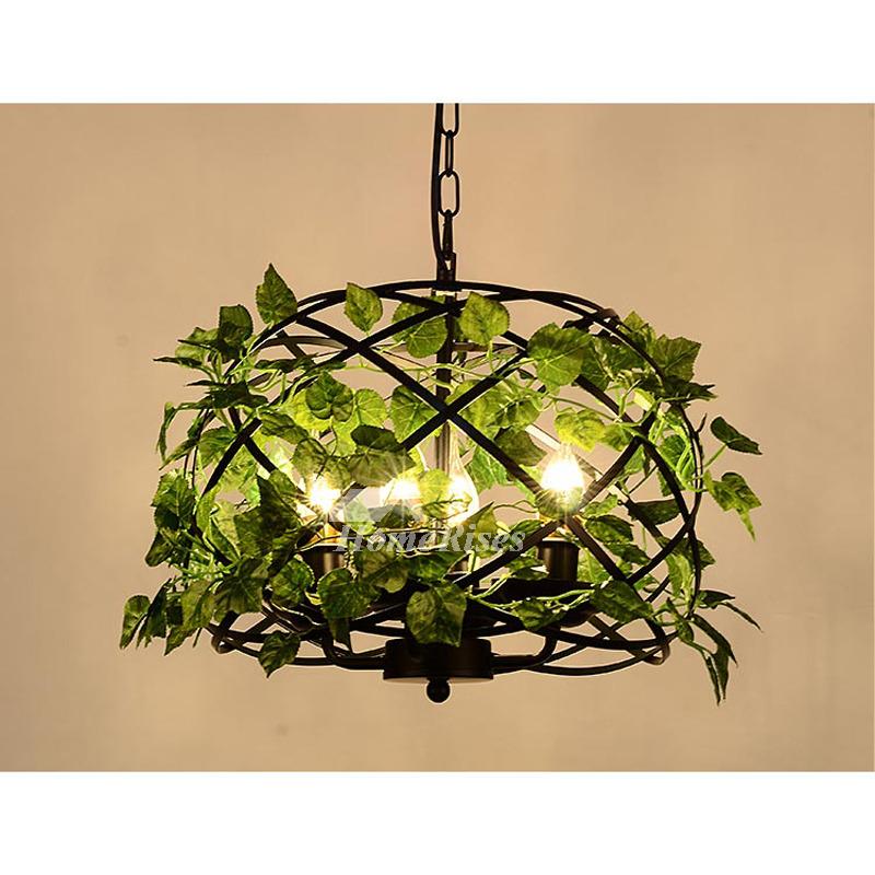 Large Pendant Light Black Hanging Wrought Iron Designer