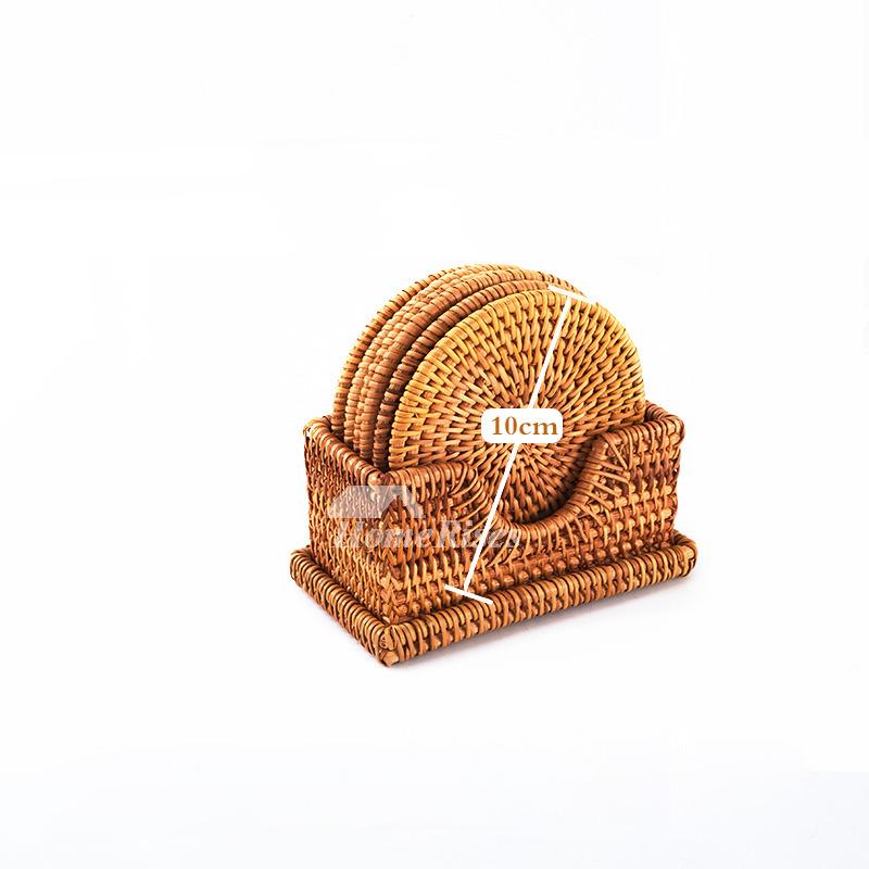 Round Rustic Coasters Set Tea Rattan Unique Drink
