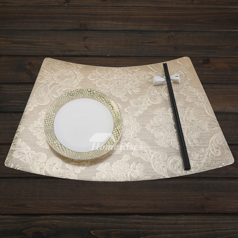 Wedge Placemats Set Pvc Beige Gold Silver Brown Dinning Table