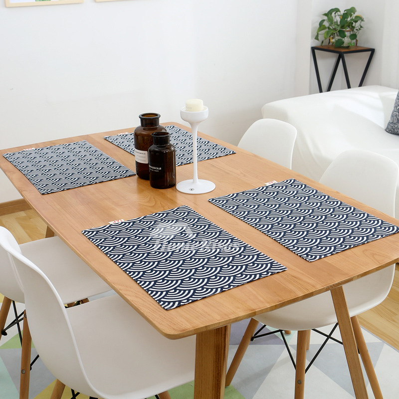 fabric table placemats rectangule blue dinning table